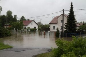 Flooded house in north-east of Czech republic. Name of the village - Detmarovice.
