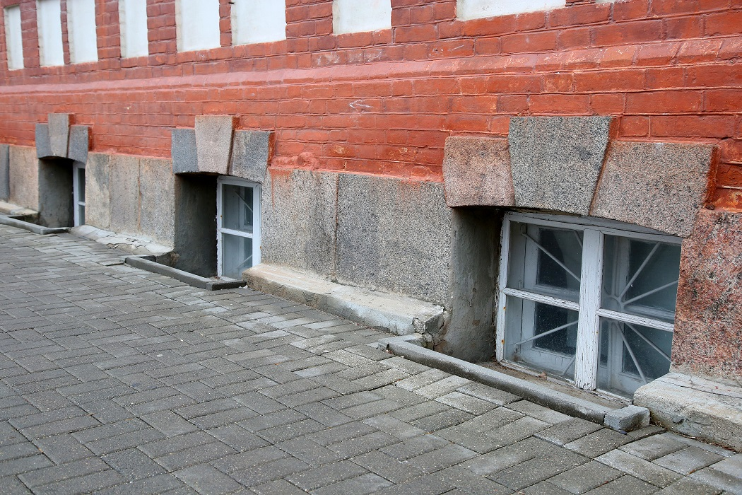 Row of the window of basement on the street